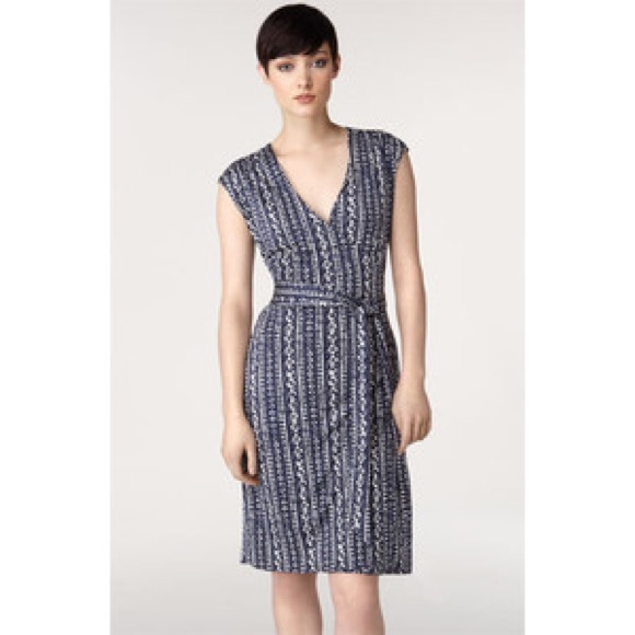 76740783 Tory Burch Dresses | Navy And White Silk Wrap Dress | Poshmark